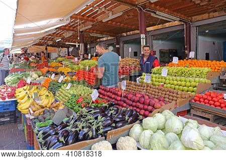Athens, Greece - May 04, 2015: Fruits And Vegetables Stall At Farmers Market In Athens, Greece.