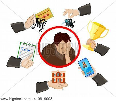 Depressed Man With Many Hands Isolated On White Background. Multitasking Problem With Stress And Pre