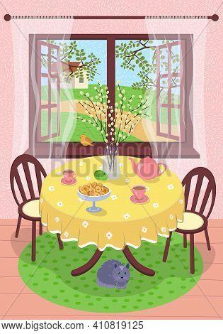 Spring Village Rest Scene Eps Poster. Country House Interior. Outside Open Window Through Tree Folia