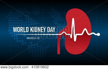 World Kidney Day - White Heart Rhythm Wave And Kidney Sign On Dot Circle Globle World Texture Backgr