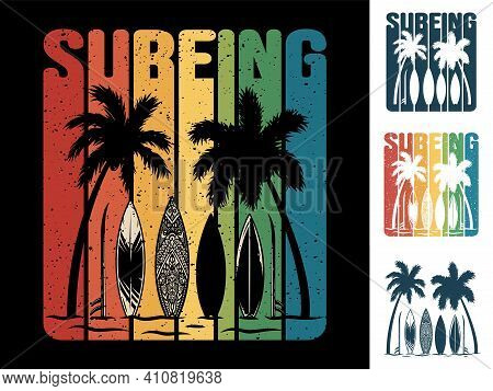 Print Set Of Surfer Beach Palm And Surfing Board