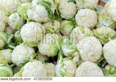 Cauliflower Inflorescence. Vintage Of Cauliflower. Background Texture