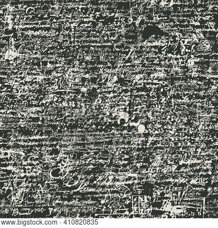 Abstract Seamless Pattern With Handwritten Scribbles And Ink Spots, Imitation Of Script On A Dark Ba
