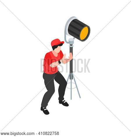 Isometric Cinematography Composition With Isolated Character Of Gaffer With Spot Light Vector Illust