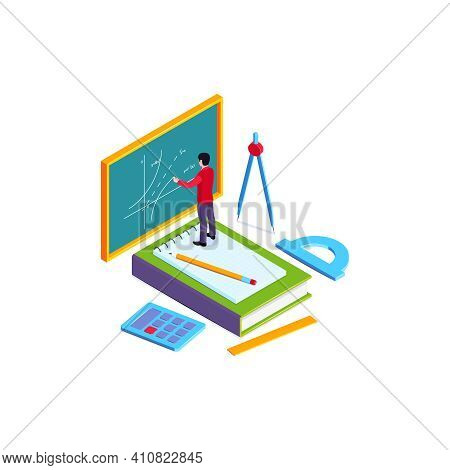 School Subjects Isometric Composition With Character Of Teacher Drawing Graph On Chalkboard Vector I