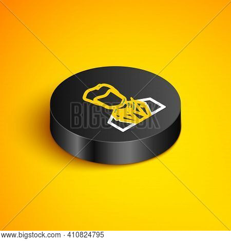 Isometric Line User Of Man In Business Suit Icon Isolated On Yellow Background. Business Avatar Symb