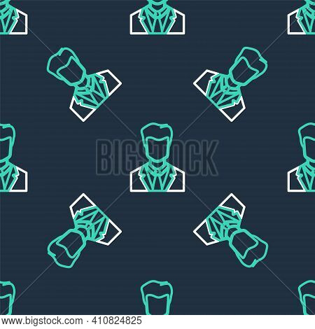 Line User Of Man In Business Suit Icon Isolated Seamless Pattern On Black Background. Business Avata