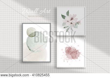 Set Of Wall Hanging Picture Frame Designed With Minimal Concept With Watercolor Hand-painted On A Wa