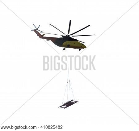 Cargo Helicopter With Cargo Isolated. Silhouette Of A Cargo Helicopter On A White Background.