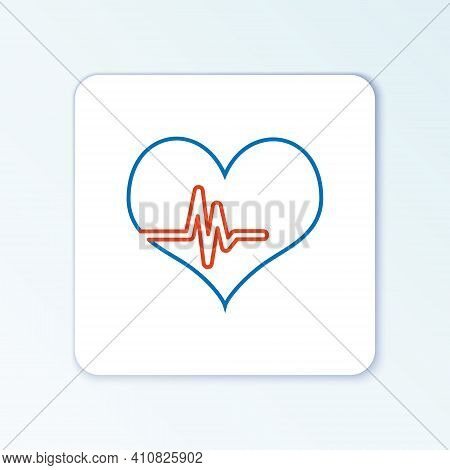 Line Heart Rate Icon Isolated On White Background. Heartbeat Sign. Heart Pulse Icon. Cardiogram Icon