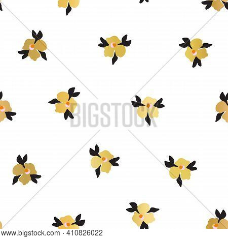 Gold Foil Ditsy Flowers Seamless Vector Pattern. Faux Metallic Golden Florals On White Background. R