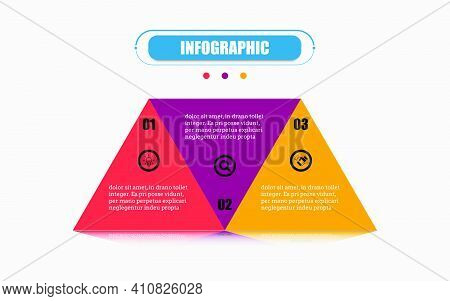 Triangles Connected Each Other Form A Square Template With 3 Options. Vector Infographic Label Banne