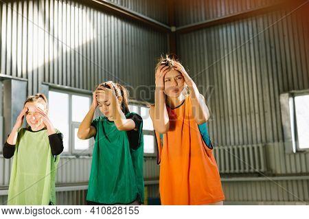 Disappointed Female Friends Feel Sad Stressed After Sports Team Lose Game, Distressed Young Girls Fr