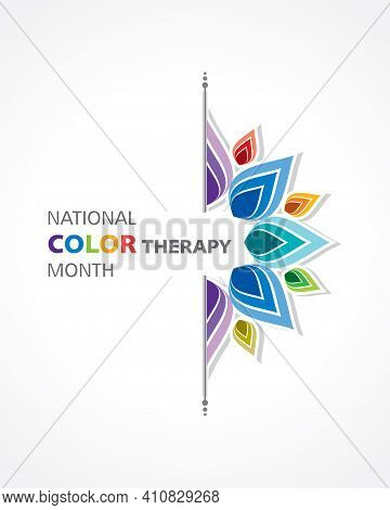Vector Illustration Of National Color Therapy Month Observed In March, To Celebrate The Healing Powe