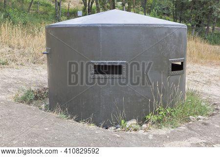 Sevastopol, Crimea, Russia - July 28, 2020: Metal Bunker In The Exposition Of Defensive Fortificatio
