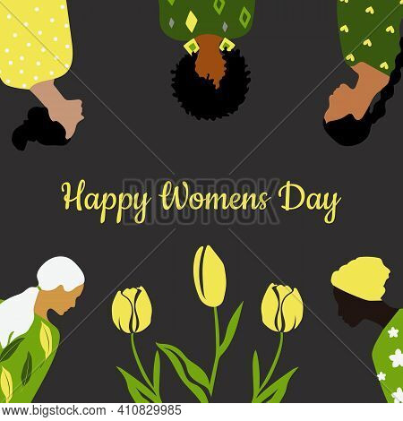 Congratulatory Spring Card Happy Women's Day. Postcard Template In Green, Yellow And Gray Colors Wit