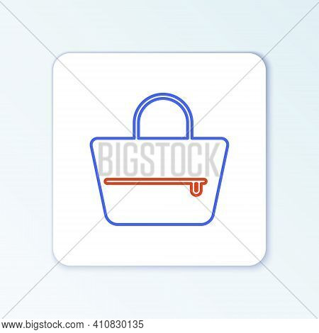 Line Handbag Icon Isolated On White Background. Female Handbag Sign. Glamour Casual Baggage Symbol.