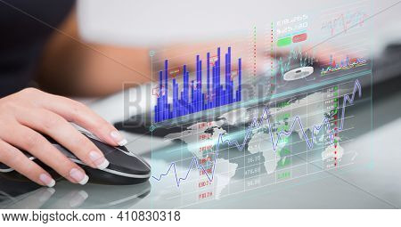 Financial data processing over woman using computer. global technology, business and finance concept digitally generated image.