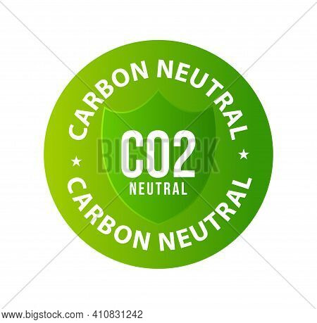 Carbon Neutral Vector Icon, Co2 Neutral Green Color