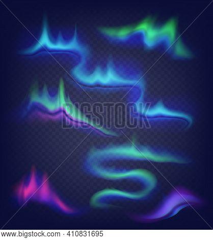 Realistic Vector Northern Lights Set. Amazing Aurora Borealis Night Polar Sky On Alpha Stransparent