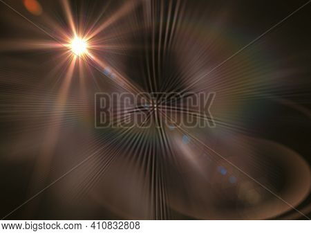 Glowing orange spot of light and light trails over brown background. light and colour concept digitally generated image.