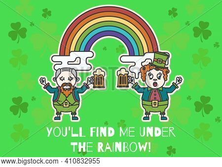 You'll find me under the rainbow text with leprechauns holding glasses of beer on green background. celebration saint patrick's day concept digitally generated image.