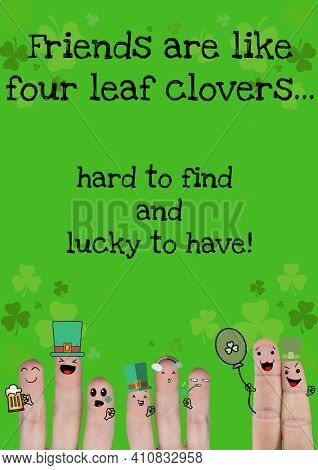 Hard to find and lucky to have text with fingers with st patrick's day decorations. celebration saint patrick's day concept digitally generated image.