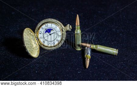 Retro Watch And Bullets On Black Background, Bullets And The Watch On Black, Watch And Bullets In Th
