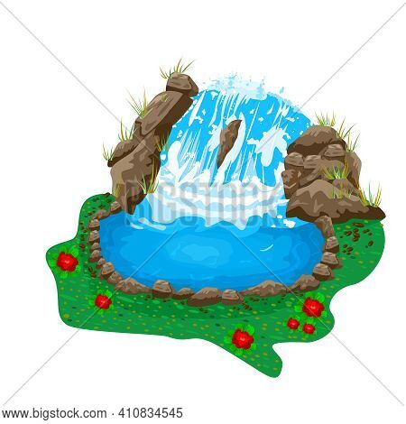 Small Pond With A Waterfall Isolated On White Background. Natural Water. River Stream Flowing Rocks