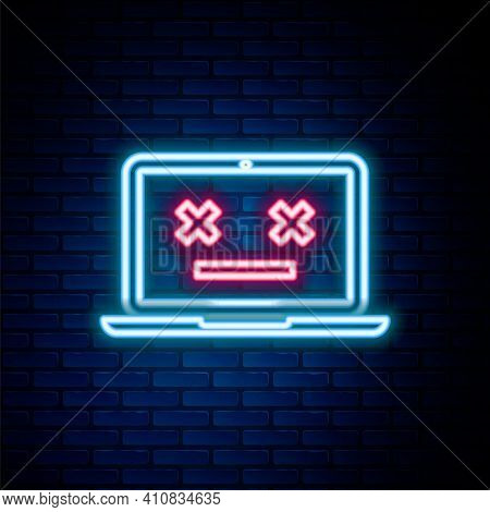 Glowing Neon Line Dead Laptop Icon Isolated On Brick Wall Background. 404 Error Like Laptop With Dea