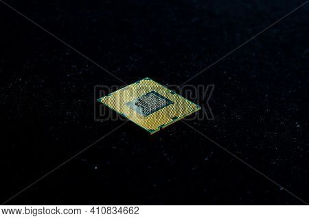 Electronic Microchip On The Black Background, Electronic Microchip In The Dark, Processor Isolated O