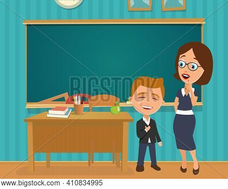 Interior Of Classroom With Desk And Blackboard. Surprised Teacher With Open Mouth And Scholar Proud