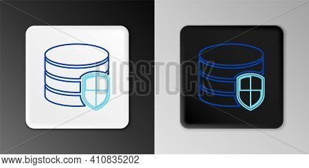 Line Database Protection Icon Isolated On Grey Background. Secure Database Icon. Colorful Outline Co