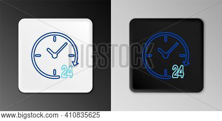 Line Clock 24 Hours Icon Isolated On Grey Background. All Day Cyclic Icon. 24 Hours Service Symbol.