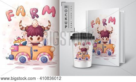 Car Bison - Poster And Merchandising. Vector Eps 10
