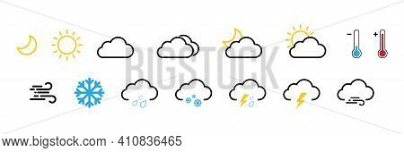 Weather Icons. Weather Forecast. Contains Symbols Of The Sun, Clouds, Snowflakes, Wind, Moon, Rain