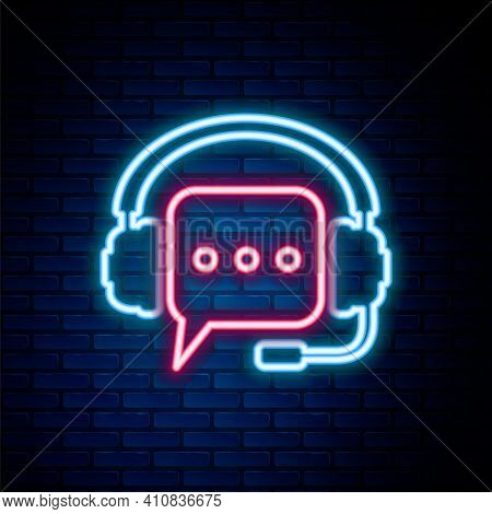 Glowing Neon Line Headphones With Speech Bubble Icon Isolated On Brick Wall Background. Support Cust