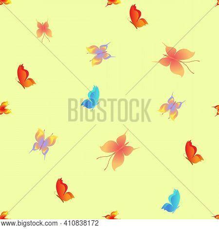 Summer Romantic Pattern With Butterflies On Yellow. Decorative Colorful Elegant Romantic Seamless Pa