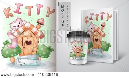 Pretty Kitty In Toilet Poster And Merchandising. Vector Ep 10