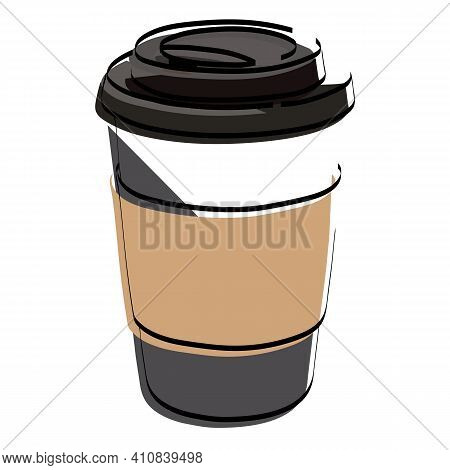 Silhouette Glass With Coffee. Latte. Cappuccino. Vector Illustration.