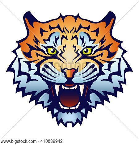Tiger Head With An Open Mouth And Bared Fangs - Color Vector Illustration