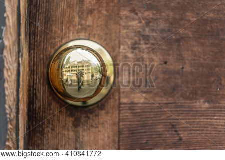 Literally It's A Typical Brass Doorknob On A Faded Wooden Door In The Old Town Seattle District