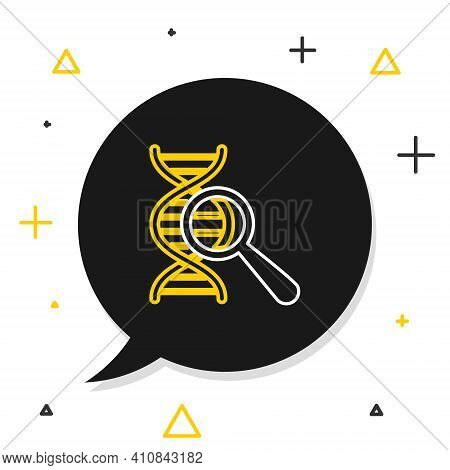 Line Dna Research, Search Icon Isolated On White Background. Magnifying Glass And Dna Chain. Genetic