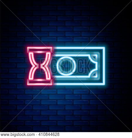 Glowing Neon Line Fast Payments Icon Isolated On Brick Wall Background. Fast Money Transfer Payment.