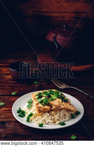 Oyakodon. Japanese Rice Dish With Chicken, Egg, Sliced Scallion