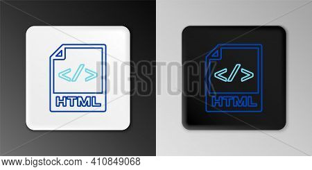 Line Html File Document. Download Html Button Icon Isolated On Grey Background. Html File Symbol. Ma