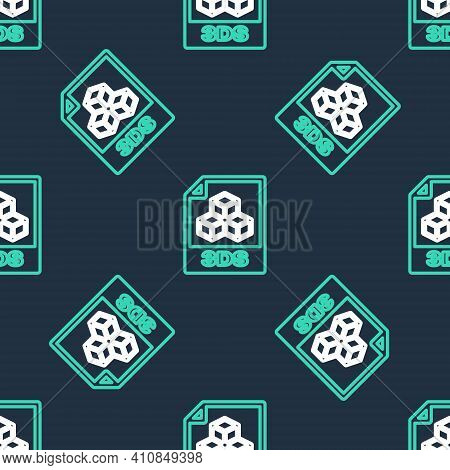 Line 3ds File Document. Download 3ds Button Icon Isolated Seamless Pattern On Black Background. 3ds
