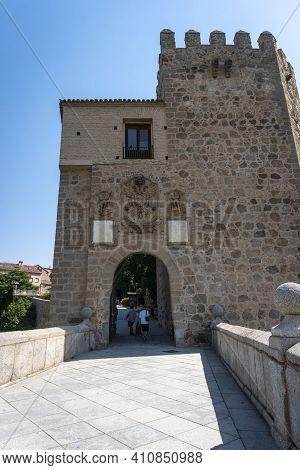 Toledo, Spain, July 2020 - Gateway To The Old Town Of Toledo, Spain, Saint Martin Bridge