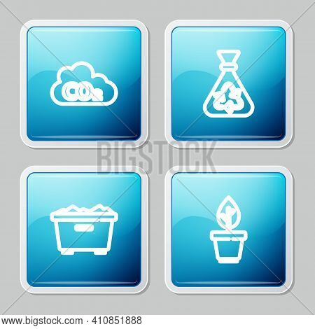 Set Line Co2 Emissions In Cloud, Garbage Bag With Recycle, Trash Can And Plant Pot Icon. Vector