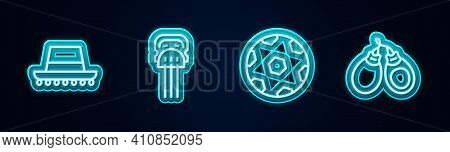 Set Line Spanish Hat, Peineta, Football Ball And Castanets. Glowing Neon Icon. Vector